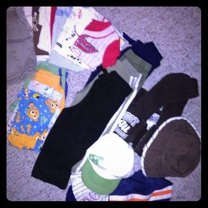 Lot of 6m to 24m boys clothing and hats